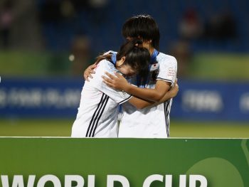 AMMAN, JORDAN - OCTOBER 21:  Players of Japan look dejected after losing the FIFA U-17 Women's World Cup Finale match between Korea DPR and Japan at Amman International Stadium on October 21, 2016 in Amman, Jordan.  (Photo by Boris Streubel - FIFA/FIFA via Getty Images)