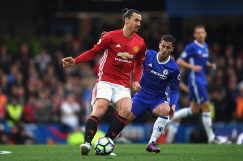 LONDON, ENGLAND - OCTOBER 23:  Zlatan Ibrahimovic of Manchester United is closed down by Eden Hazard of Chelsea during the Premier League match between Chelsea and Manchester United at Stamford Bridge on October 23, 2016 in London, England.  (Photo by Shaun Botterill/Getty Images)