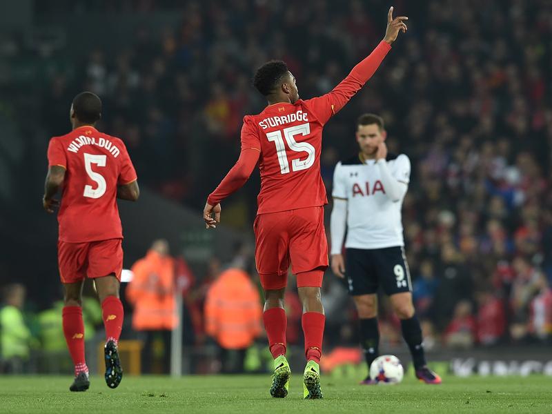 2点目を挙げて喜ぶスタリッジ [写真]=Liverpool FC via Getty Images