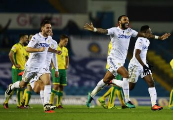 LEEDS, ENGLAND - OCTOBER 25:  Kyle Bartley (c) of Leeds United celebrates his teams win during the EFL Cup Fourth Round match between Leeds United and Norwich City at Elland Road on October 25, 2016 in Leeds, England.  (Photo by Matthew Lewis/Getty Images)