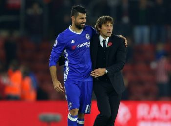 SOUTHAMPTON, ENGLAND - OCTOBER 30: Antonio Conte manager / head coach of Chelsea hugs Diego Costa of Chelsea after the Premier League match between Southampton and Chelsea at St Mary's Stadium on October 30, 2016 in Southampton, England. (Photo by Catherine Ivill - AMA/Getty Images)