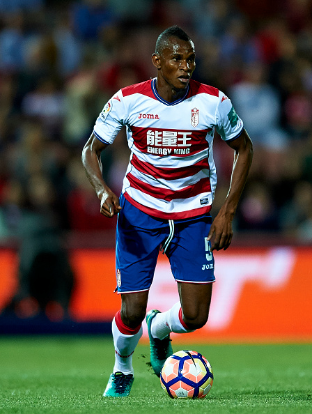 GRANADA, SPAIN - OCTOBER 22:  Uche Henry Agbo of Granada CF in action during the match between Granada CF vs Sporting Gijon as part of La Liga at Nuevo los Carmenes Stadium on October 22, 2016 in Granada, Spain.  (Photo by Aitor Alcalde Colomer/Getty Images)