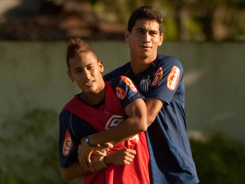 サントスでともにプレーしたネイマールとガンソ [写真]=LatinContent/Getty Images