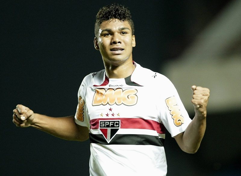 BARUERI, BRAZIL - OCTOBER 06:  Casemiro of Sao Paulo celebrates a scored goal against Vitoria during the soccer match Sao Paulo FC v Vitoria as part of the Brazilian Championship Serie A at Arena Barueri, on October 06, 2010 in Barueri, Brazil.  (Photo by Keiny Andrade/LatinContent/Getty Images)