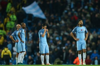MANCHESTER, ENGLAND - NOVEMBER 05: Manchester City players dejected during the Premier League match between Manchester City and Middlesbrough at Etihad Stadium on November 5, 2016 in Manchester, England. (Photo by Robbie Jay Barratt - AMA/Getty Images)