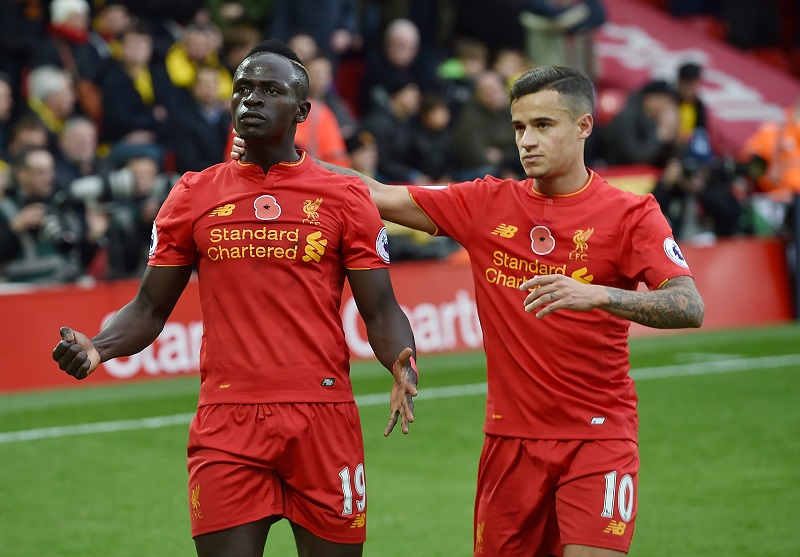 マネ(左)が先制点を挙げた [写真]=Liverpool FC via Getty Images