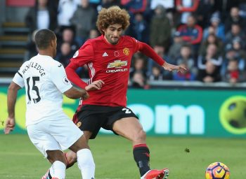 SWANSEA, WALES - NOVEMBER 06:  Marouane Fellaini of Manchester United in action during the Premier League match between Swansea City and Manchester United at the Liberty Stadium on November 6, 2016 in Swansea, Wales.  (Photo by Matthew Peters/Man Utd via Getty Images)