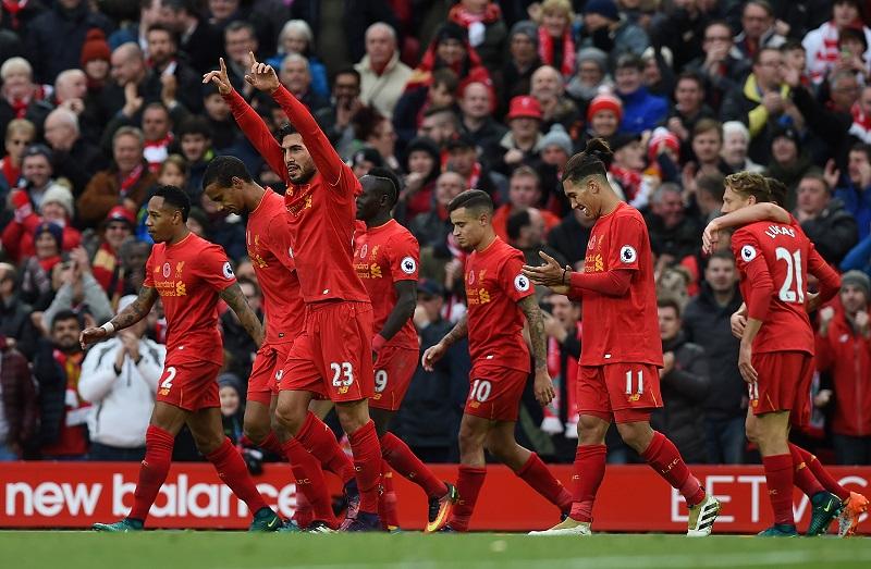 エムレ・ジャン(23番)がチームの3点目を奪った [写真]=Liverpool FC via Getty Images