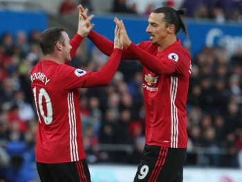 SWANSEA, WALES - NOVEMBER 06:  Zlatan Ibrahimovic of Manchester United celebrates scoring their third goal during the Premier League match between Swansea City and Manchester United at the Liberty Stadium on November 6, 2016 in Swansea, Wales.  (Photo by Matthew Peters/Man Utd via Getty Images)