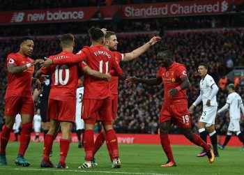 LIVERPOOL, ENGLAND - NOVEMBER 06:  (THE SUN OUT, THE SUN ON SUNDAY OUT) Sadio Mane of Liverpool celebrates after scoring during the Premier League match between Liverpool and Watford at Anfield on November 6, 2016 in Liverpool, England.  (Photo by John Powell/Liverpool FC via Getty Images)