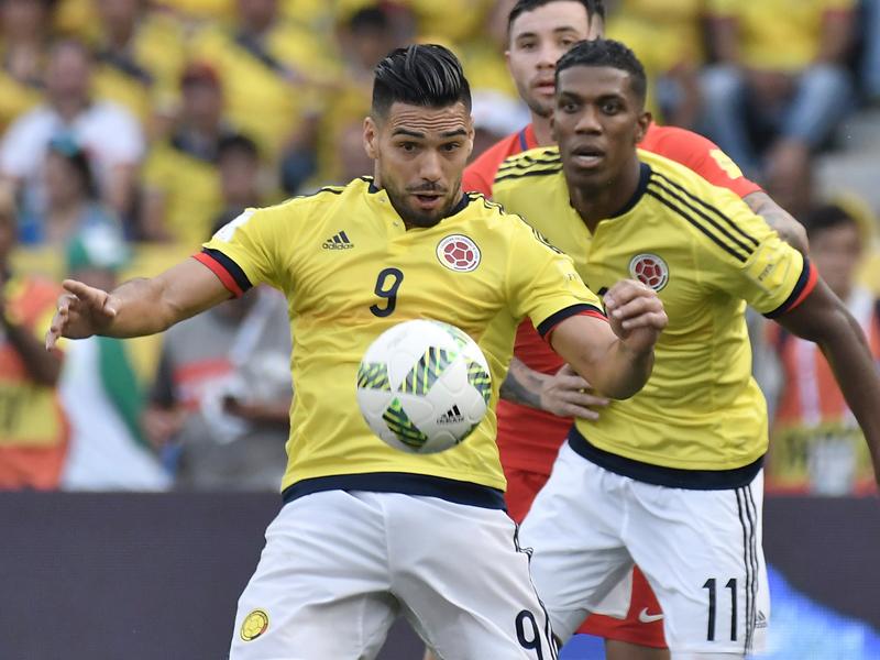 代表復帰を果たしたファルカオ(9番)。ゴールを決めることはできなかった [写真]=LatinContent/Getty Images