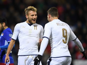 VADUZ, LIECHTENSTEIN - NOVEMBER 12:  Ciro Immobile (l) of Italy celebrates with teammate Andrea Belotti (l) the second goal during the FIFA 2018 World Cup Qualifier between Liechtenstein and Italy at  on November 12, 2016 in Vaduz, Liechtenstein. (Photo by Valeriano Di Domenico/Getty Images)