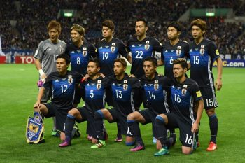 SAITAMA, JAPAN - NOVEMBER 15:  Players of Japan line up for team photos prior to the 2018 FIFA World Cup Qualifier match between Japan and Saudi Arabia at Saitama Stadium on November 15, 2016 in Saitama, Japan.  (Photo by Etsuo Hara/Getty Images)