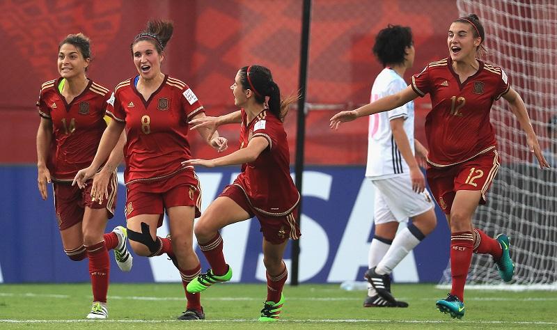 先制ゴールを喜ぶスペイン [写真]=FIFA via Getty Images