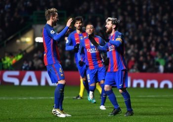 GLASGOW, SCOTLAND - NOVEMBER 23: Lionel Messi of Barcelona (R) celebrates scoring his sides second goal with Ivan Rakitic of Barcelona (L) during the UEFA Champions League Group C match between Celtic FC and FC Barcelona at Celtic Park Stadium on November 23, 2016 in Glasgow, Scotland.  (Photo by Mike Hewitt/Getty Images)