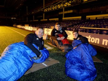 LIVERPOOL, ENGLAND - November 25:  Gethin Jones (L) Jonjoe Kenny (C) and Conor Grant (R) prepare for the the Everton in the Community Sleepover Event at Goodison Park on November 25, 2016 in Liverpool, England.  (Photo by Tony McArdle/Everton FC via Getty Images)