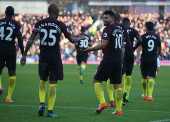 BURNLEY, ENGLAND - NOVEMBER 26:  Sergio Aguero (R) of Manchester City celebrates scoring his team's second goal with his team mate Fernandinho (L) during the Premier League match between Burnley and Manchester City at Turf Moor on November 26, 2016 in Burnley, England.  (Photo by Alex Livesey/Getty Images)