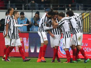 FRANKFURT AM MAIN, GERMANY - NOVEMBER 26:  Haris Seferovic (3rd R) of Eintracht Frankfurt celebrates scoring his team's second goal with his team mates during the Bundesliga match between Eintracht Frankfurt and Borussia Dortmund at Commerzbank-Arena on November 26, 2016 in Frankfurt am Main, Germany.  (Photo by Alex Grimm/Bongarts/Getty Images)