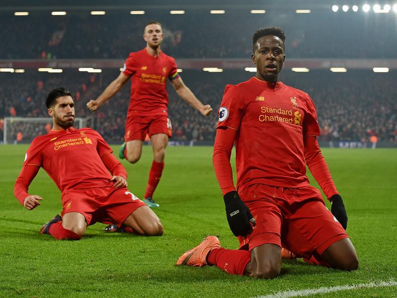 先制ゴールを決めたオリジ(右) [写真]=Liverpool FC via Getty Images