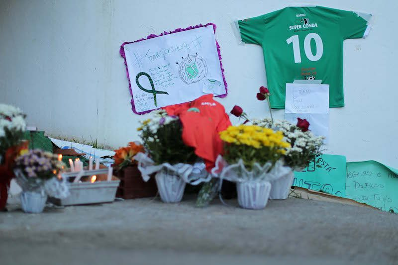 CHAPECO, BRAZIL - NOVEMBER 29: Tribute to the players of Brazilian team Chapecoense Real who were killed in a plane accident in the Colombian mountains, at the club's Arena Conda stadium in Chapeco, in the southern Brazilian state of Santa Catarina, on November 29, 2016. Players of the Chapecoense were among 81 people on board the flight that crashed into mountains in northwestern Colombia, in which officials said just six people were thought to have survived, including three of the players. Chapecoense had risen from obscurity to make it to the Copa Sudamericana finals scheduled for Wednesday against Atletico Nacional of Colombia . (Photo by Heuler Andrey/Getty Images)