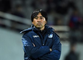 CHOFU, JAPAN - NOVEMBER 11:  (EDITORIAL USE ONLY) Takayuki Nishigaya,coach of Mito Hollyhock looks on during the Emperor's Cup fourth round match between FC Tokyo and Mito HollyHock at Ajinomoto Stadium on November 11, 2015 in Chofu, Tokyo, Japan.  (Photo by Etsuo Hara/Getty Images)