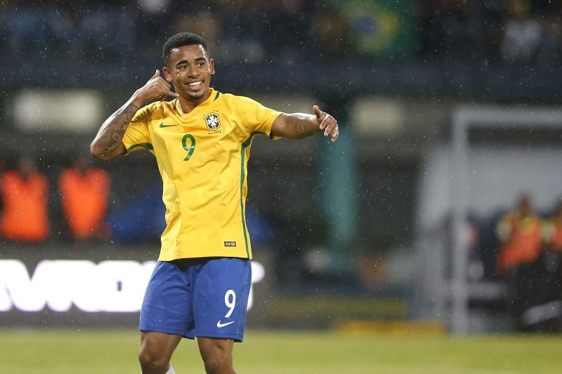 MERIDA, VENEZUELA - OCTOBER 11:  Gabriel Jesus of Brazil celebrates after scoring the opening goal during a match between Venezuela and Brazil as part of FIFA 2018 World Cup Qualifiers at Metropolitano Stadium on October 11, 2016 in Merida, Venezuela. (Photo by Nelson Pulido/LatinContent/Getty Images)