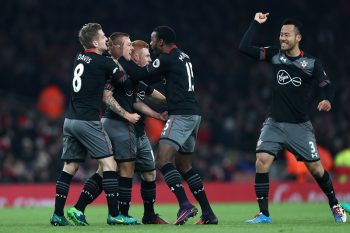 LONDON, ENGLAND - NOVEMBER 30:  Jordy Clasie of Southampton celebrates with team mates after scoring the opening goal of the game during the EFL Cup quarter final match between Arsenal and Southampton at the Emirates Stadium on November 30, 2016 in London, England.  (Photo by Clive Rose/Getty Images)