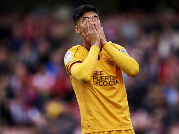 GRANADA, SPAIN - DECEMBER 03:  Joaquin Correa of Sevilla FC reacts during the La Liga match between Granada CF and Sevilla FC at Estadio Nuevos Los Carmenes on December 03, 2016 in Granada, Spain.  (Photo by Aitor Alcalde Colomer/Getty Images)