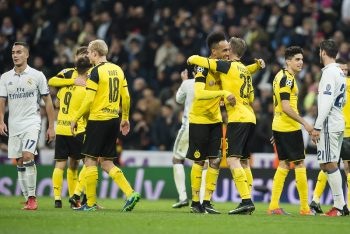 MADRID, SPAIN - DECEMBER 07: The team of Borussia Dortmund after the final whistle during the UEFA Champions League: First Qualifying Round 2nd Leg match between Real Madrid CF and Borussia Dortmund at Estadio Santiago Bernabeu on December 07, 2016 in Madrid, Spain.  (Photo by Alexandre Simoes/Borussia Dortmund/Getty Images)
