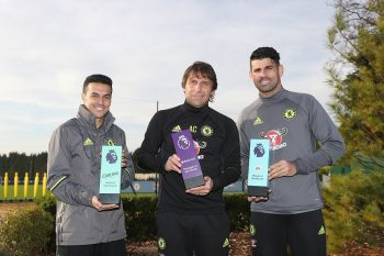 COBHAM, ENGLAND - DECEMBER 09:  Pedro, Manager Antonio Conte and Diego Costa pose with their awards as they receive the Monthly Premier League Awards at Chelsea Training Ground on December 9, 2016 in Cobham, England.  (Photo by Christopher Lee/Getty Images for Premier League)