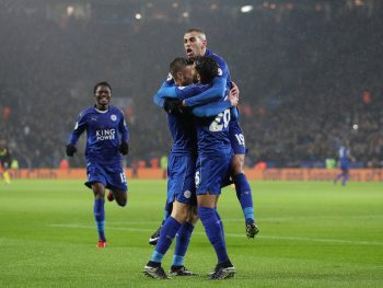 LEICESTER, ENGLAND - DECEMBER 10: Jamie Vardy of Leicester City celebrates scoring his sides third goal with Islam Slimani of Leicester City (R) during the Premier League match between Leicester City and Manchester City at the King Power Stadium on December 10, 2016 in Leicester, England.  (Photo by Christopher Lee/Getty Images)