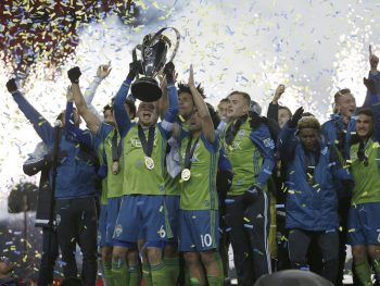 TORONTO, ON - DECEMBER 11: Seattle Sounders celebrate after being presented with the MLS Cup. Toronto FC vs Seattle Sounders  in 2nd half action of MLS Cup final in Toronto at BMO Field. TFC lost in a shoot o out after a scoreless OT period. Toronto Star/Rick Madonik        (Rick Madonik/Toronto Star via Getty Images)