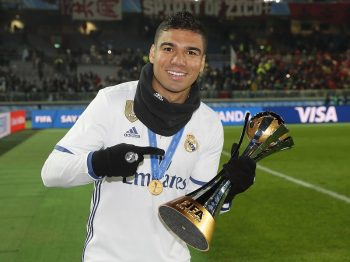 YOKOHAMA, JAPAN - DECEMBER 18:  Casemiro of Real Madrid poses with the trophy after the FIFA Club World Cup Final match between Real Madrid and Kashima Antlers at International Stadium Yokohama on December 18, 2016 in Yokohama, Japan.  (Photo by Angel Martinez/Real Madrid via Getty Images)