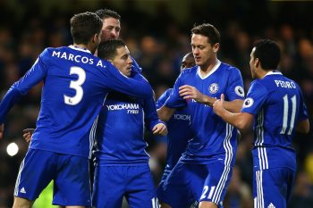 LONDON, ENGLAND - DECEMBER 26:  Eden Hazard of Chelsea celebrates with team mates after scoring his sides second goal during the Premier League match between Chelsea and AFC Bournemouth at Stamford Bridge on December 26, 2016 in London, England.  (Photo by Jordan Mansfield/Getty Images)