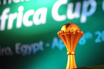 CAIRO, EGYPT - APRIL 8: Africa Cup of Nations trophy is seen ahead of the draw for the 2017 CAN qualifiers in Cairo. The CAF announced that Gabon will host the 2017 Africa Cup of Nations. (Photo by Haikel Hmima/Anadolu Agency/Getty Images)