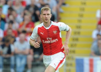 LENS, FRANCE - JULY 22:  Per Mertesacker of Arsenal during a pre season friendly between RC Lens and Arsenal at Stade Bollaert-Delelis on July 22, 2016 in Lens.  (Photo by Stuart MacFarlane/Arsenal FC via Getty Images)