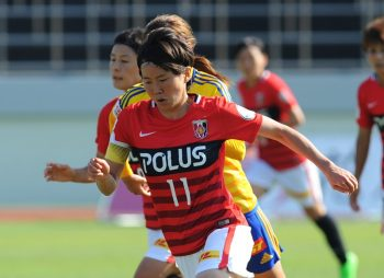 SAITAMA, JAPAN - OCTOBER 02:  (EDITORIAL USE ONLY) Miti Goto #11 of Urawa reds in action during the Nadeshiko League match between Urawa Red Diamonds Ladies and Vegalta Sendai Ladies at Urawa Komaba Stadium on October 2, 2016 in Saitama, Japan.  (Photo by Hiroki Watanabe/Getty Images)