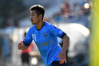 YOKOHAMA, JAPAN - NOVEMBER 12:  (EDITORIAL USE ONLY) Kazuyoshi Miura of Yokohama FC in action during the J.League second division match between Yokohama FC and Zweigen Kanazawa at Nippatsu Mitsuzawa Stadium on November 12, 2016 in Yokohama, Kanagawa, Japan.  (Photo by Etsuo Hara/Getty Images)