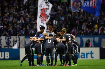 SAITAMA, JAPAN - NOVEMBER 15:  Players of Japan huddle during the 2018 FIFA World Cup Qualifier match between Japan and Saudi Arabia at Saitama Stadium on November 15, 2016 in Saitama, Japan.  (Photo by Etsuo Hara/Getty Images)