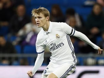 MADRID, SPAIN - NOVEMBER 30: Martin Odegaard of Real Madrid in action during the Copa del Rey round of 32 second leg match between Real Madrid CF and Cultural y Deportiva Leonesa at Estadio Santiago Bernabeu on November 30, 2016 in Madrid, Spain.  (Photo by Helios de la Rubia/Real Madrid via Getty Images)