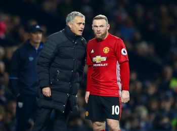WEST BROMWICH, ENGLAND - DECEMBER 17: Jose Mourinho, Manager of Manchester United (L) speaks to Wayne Rooney of Manchester United (R) during the Premier League match between West Bromwich Albion and Manchester United at The Hawthorns on December 17, 2016 in West Bromwich, England.  (Photo by Michael Steele/Getty Images)