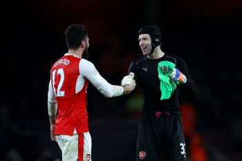 LONDON, ENGLAND - DECEMBER 26:  Olivier Giroud of Arsenal celebrates victory with Petr Cech after the Premier League match between Arsenal and West Bromwich Albion at Emirates Stadium on December 26, 2016 in London, England.  (Photo by Julian Finney/Getty Images)