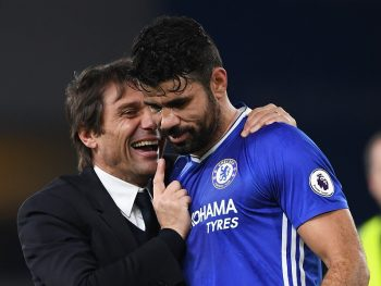 LONDON, ENGLAND - DECEMBER 31:  Antonio Conte (L), Manager of Chelsea congratulates Diego Costa (R) after the Premier League match between Chelsea and Stoke City at Stamford Bridge on December 31, 2016 in London, England.  (Photo by Darren Walsh/Chelsea FC via Getty Images)