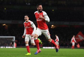 LONDON, ENGLAND - JANUARY 01:  Olivier Giroud #12 of Arsenal celebrates after scoring the opening goal during the Premier League match between Arsenal and Crystal Palace at the Emirates Stadium on January 1, 2017 in London, England.  (Photo by Shaun Botterill/Getty Images)