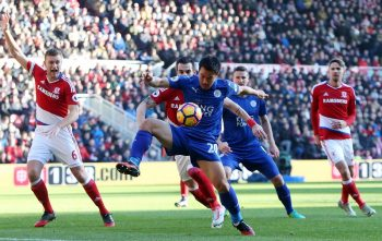 MIDDLESBROUGH, ENGLAND - JANUARY 02: Shinji Okazaki of Leicester City in action during the Premier League match between Middlesbrough and Leicester City at Riverside Stadium on January 02, 2017 in Middlesbrough, England.  (Photo by Plumb Images/Leicester City FC via Getty Images)