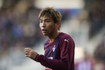 EIBAR, SPAIN - JANUARY 07:  Takashi Inui of SD Eibar reacts during the La Liga match between SD Eibar and Atletico Madrid at Ipurua Municipal Stadium on January 7, 2017 in Eibar, Spain.  (Photo by Juan Manuel Serrano Arce/Getty Images)