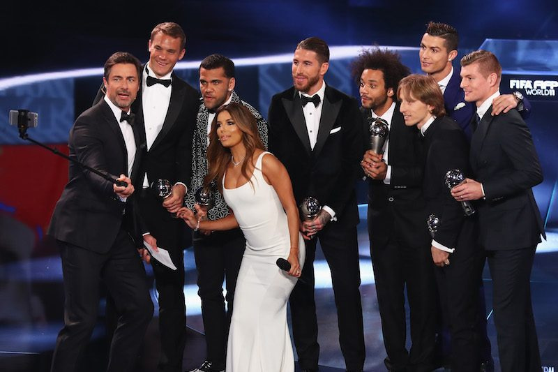 ZURICH, SWITZERLAND - JANUARY 09:  Members of the FIFA FIFPro World11 pose on stage with hosts Eva Longoria and Marco Schreyl during The Best FIFA Football Awards at TPC Studio on January 9, 2017 in Zurich, Switzerland.  (Photo by Alexander Hassenstein - FIFA/FIFA via Getty Images)