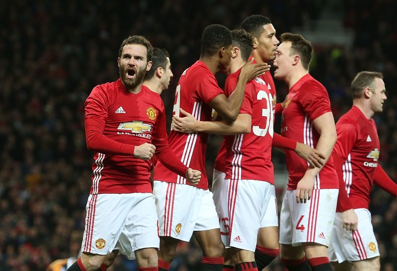 MANCHESTER, ENGLAND - JANUARY 10:  Juan Mata of Manchester United celebrates scoring their first goal during the EFL Cup Semi-Final first leg match between Manchester United and Hull City at Old Trafford on January 10, 2017 in Manchester, England.  (Photo by Matthew Peters/Man Utd via Getty Images)