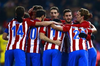 MADRID, SPAIN - JANUARY 10:  Angel Martin Correa (3dL) of Atletico de Madrid celebrates scoring their second goal with teammates during the Copa del Rey  Round of 16 second leg match at Estadio Vicente Calderon on January 10, 2017 in Madrid, Spain.  (Photo by Gonzalo Arroyo Moreno/Getty Images)