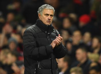MANCHESTER, ENGLAND - JANUARY 15:  Jose Mourinho manager of Manchester United applauds the crowd after the Premier League match between Manchester United and Liverpool at Old Trafford on January 15, 2017 in Manchester, England.  (Photo by Mike Hewitt/Getty Images)
